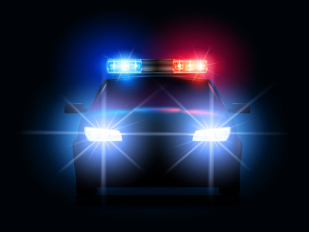 Police car lights. Security sheriff cars headlights and flashers, emergency siren light and secure transport. Arrest led lighting, cop law car beacon or sirens alarm. 3d realistic vector illustration
