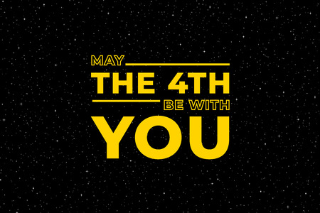 May the 4th be with you. Starry sky poster, star force and hand drawn stars. Wars movie slogan banner, futuristic stars glow poster or space star fantasy vector illustration
