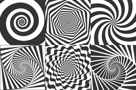 Hypnotic spiral. Swirl hypnotize spirals, vertigo geometric illusion and rotating stripes round pattern. Optical psychedelic delusion, hypnotherapy spiral illusion vector illustration set
