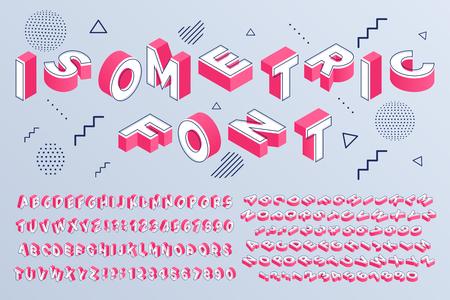 Isometrische Schriftart. Geometrische Buchstaben des Alphabets 3d kubische Blöcke und perspektivische Zahlen. Futuristischer Buchstabe der Schriftart, Alphabet, das ABC-Schrift und Zahlen beschriftet. Isolierte Zeichen-Vektor-Set Vektorgrafik