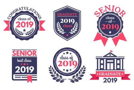Distintivo di scuola superiore laureato. Emblema del giorno della laurea, distintivi di congratulazioni per i laureati ed emblemi dell'istruzione. Vettoriali