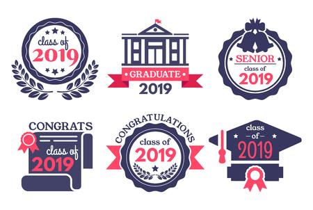Graduate student badge. Congratulations graduates, graduation day badges and school graduation. College senior graduation emblem, achievement academy stamp. Vector illustration isolated signs set Vetores