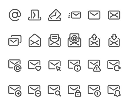 Outline mail icon. Mailbox envelope, email inbox messages and line mails. Mailings envelope lined web download, delete or new message button interface. Isolated icons vector set