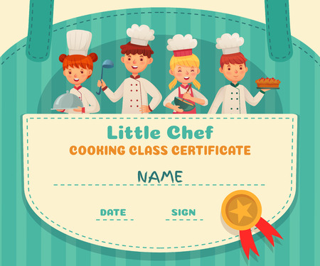 Little chef certificate. Cooking class chefs diploma, cooking food school lesson and kids cooks frame. Food certificate education, culinary learning class coupon cartoon vector illustration