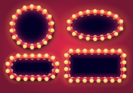 Make-up-Spiegel-Set. Lichtrahmen, schöne Beleuchtung und Spiegelrahmen Glühbirnen. Theater-Eitelkeit hinter der Bühne Make-up-Toilettenspiegel Isolierte 3D-Vektor-Illustrationssymbole eingestellt