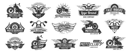 Motorcycle badges. Bikers club emblems, motorbike custom repair and wheel wings badge.