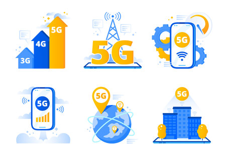 Mobile 5G network. City fast internet hotspot, wireless telecommunications and fifth generation networks. Telephone data wave, speed internet movie downloads. Vector isolated symbols illustration set Ilustração