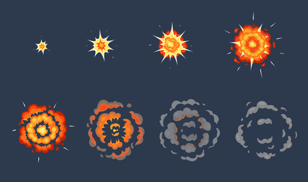 Cartoon explosion animation. Exploding effect frames, animated shot explode with smoke clouds. Exploding fire, explosions dynamite bomb energy. Vector illustration isolated symbols set