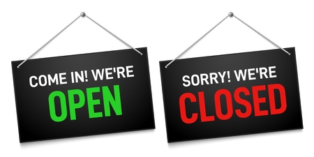 Black open and closed sign. Dark shop door sign boards, come in and sorry we are closed outdoors signboard. Market doors welcome information banners vector illustration