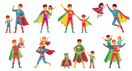 Cartoon father superhero. Happy fathers day, super parent with kids and hero dad. Son, daughter and father family character in superhero costume. Vector illustration isolated icons set 向量圖像