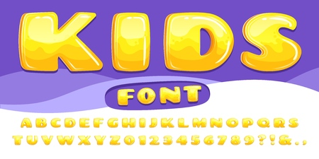 Cartoon chubby font. Kids game alphabet, child cartoons bubble lettering and cartoony fonts numbers. Chubby abc letter type, text typography vector illustration set