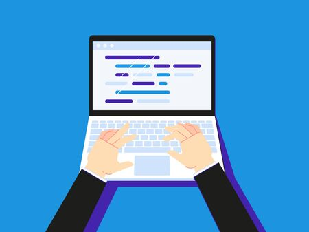 Typing code on laptop. Businessman using notebook creen desktop or secretary hand type. Programmer coding workplace, pc working or website programming development flat vector illustration