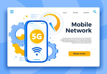 Mobile 5G network landing page. Communication system, cellular connection and fast internet for smartphone. Wireless wifi wave, global phone data lte connection technology vector illustration