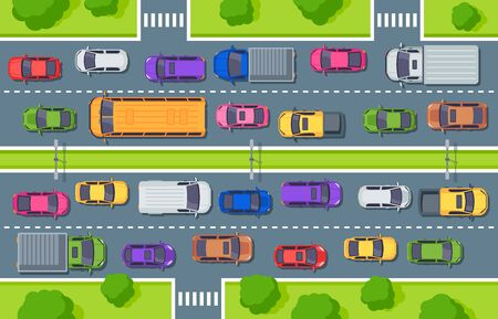Traffic jam. Highway top view, trucks cars on road and car traffic control. Street driver, city vehicle air pollution or cargo jams cars driving art for game vector illustration Illustration