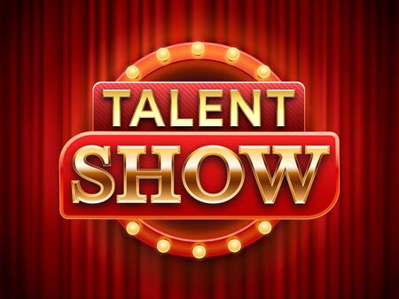 Talent show sign. Talented stage banner, snows scene red curtains and event invitation poster. Theater performance banner, talent day festival curtain chalkboard vector illustration  イラスト・ベクター素材