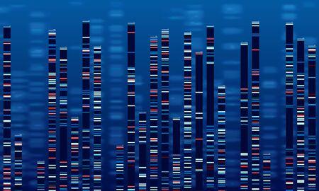 DNA-Datendiagramm. Medizintestgrafik, abstraktes Genomsequenzdiagramm und Genomikkarte. Medizingenomik-Datensequenzen, Antikörpertests oder genetische Chromosomen-Barcoding-Vektorillustration Vektorgrafik