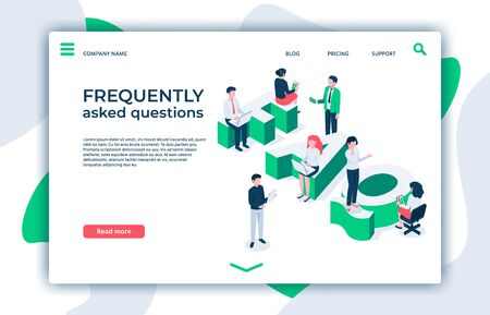 Frequently asked questions. Asking question, ask about and FAQ landing page. Answered information, quiz discussion, intelligence asked and answers isometric vector illustration