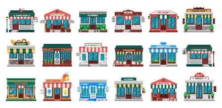 Shops facades. Laundry building, hardware store facade and pharmacy shop. Business cafe, local shopping stores street supermarket or downtown restaurant. Flat vector isolated icons set