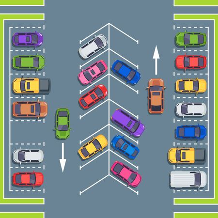 City parking top view. Park spaces for cars, car parking zone. Automobile on asphalt road, vehicle parking area or auto transport park vector illustration