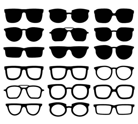 Glasses silhouette. Geek eyewear, cool sunglasses and eyeglasses silhouettes.