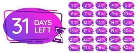 Tage übrig Abzeichen. Tagesnummern-Countdown-Uhr, Sanduhr-Zähler-Erinnerung und Sanduhr-Zeitabzeichen. Verkaufsangebot Einkaufstag Countdown, Tage Timer. Isolierte Symbolvektor-Illustrationssatz Vektorgrafik