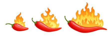 Cartoon Peperoni. Würziger Pfeffer mit Feuerflammen und rotem Chili der Flammen. Vektorgrafik