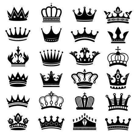 Sylwetka korony królewskiej. Korony króla, majestatyczna korona i luksusowe sylwetki tiary. królewskie królowe korony lub księżniczka biżuteria insygnia heraldyczne kapelusze. Zestaw symboli na białym tle wektor