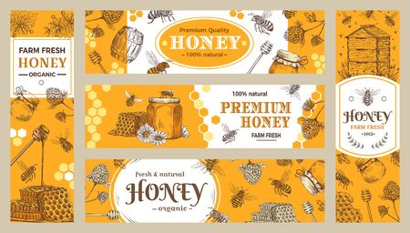 Honey banner. Healthy sweets, natural bees honey pot and bee farm products banners. Bees wax or honey jar sticker, beekeeper eco gourmet food advertisment sale label or brochure vector collection Illustration