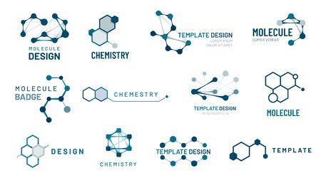 Hexagonal molecule badge. Molecular structure  , molecular grids and chemistry hexagon molecules templates. Dna macro molecule, science bio code  . Isolated vector symbols set