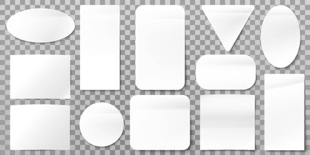 White paper labels. Blank label stickers, sticky papers tags and sign shapes. A4 square card label sticker or rectangular triangle sticky notice tags. Isolated vector icons set