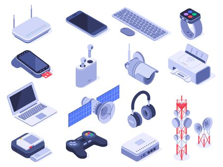 Isometric wireless devices. Computer connect gadgets, wireless connection remote controller and router device. Home internet technology wifi devices. Isolated 3d icons vector set Illustration