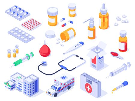 Isometric first aid kit. Health care medical pills, pharmacy medicines and drug bottles. Hospital ambulance, pill case or wound safety supplies. Healthcare 3d isolated vector icons set Ilustração