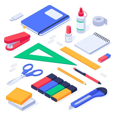 Isometric office supplies. School stationery tools, pencil eraser and pens. Stationery stapler, notebook and ruler tool supplies or workspace equipment isolated 3d icons vector set Ilustração