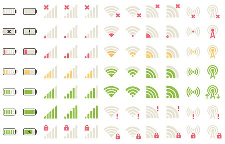 Mobile level icons. Network signal, wifi connection and battery levels icon. Gadgets batteries, phone signals pictogram or wifi status charger bar. Isolated symbols vector set Illustration