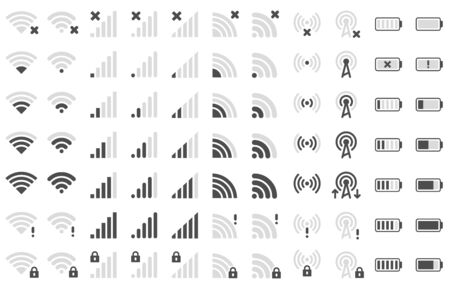Mobile phone bar icons. Smartphone battery charge level, wifi signal strength icon and network connection levels pictogram. Device power indicating or batteries bar. Isolated symbols vector set Ilustração