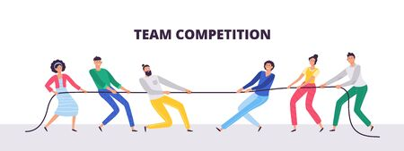 Tug of war. People teams pull the rope, office workers compete and rope pulling competition. Power tugging struggle, family conflict battle or active tug game flat vector illustration