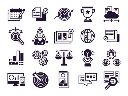 Business icons. Corporate businesses teamwork, global partnership and office management. Businessman marketing site seo optimization signs. Isolated vector silhouette symbols set