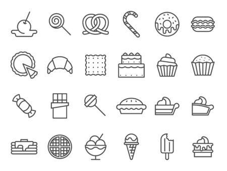 Sweet dessert icons. Sweetly cake, sweets ice cream and muffin cakes. Desserts line art pancakes, celebration chocolate cookies or cheesecream tart bakery dessert. Isolated vector icon set Ilustração