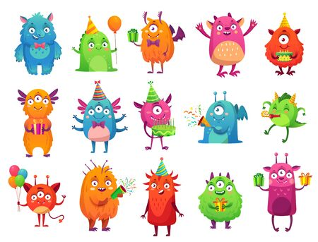 Cartoon party monsters. Cute monster happy birthday gifts, funny alien mascot and monster with greeting cake. bigfoot, troll and silly alien toys. Isolated vector illustration icons set Ilustração
