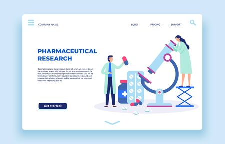 Pharmaceutical research. Scientists lab, pharmaceutics scientist and laboratory researchers landing page. Pills research, doctor pharmaceutic chemical lab studies vector illustration