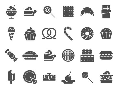 Desserts silhouette icon. Sweet muffin cakes, dessert ice cream and chocolate pie. Ilustração