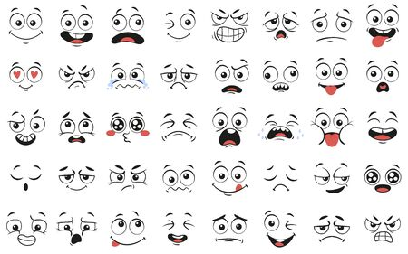 Cartoon faces. Expressive eyes and mouth, smiling, crying and surprised character face expressions. Caricature comic emotions or emoticon doodle. Isolated vector illustration icons set Stock fotó - 129433759
