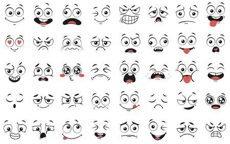 Twarze kreskówek. Wyraziste oczy i usta, uśmiechnięte, płaczące i zdziwione miny twarzy. Karykatura komiks emocje lub doodle emotikon. Zestaw ikon ilustracja na białym tle wektor