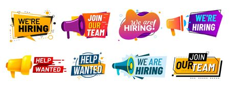 Join our team banners. We are hiring communication poster, help wanted advertising banner with speaker and vacant badge. Hr recruiting hire, vacancy job offer isolated vector signs set Ilustração