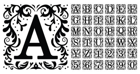 Vintage monogram letters. Decorative ornamental ancient capital letter, old alphabet monograms and filigree ornament font. Renaissance or victorian engraved initial abc. Isolated vector symbols set Çizim