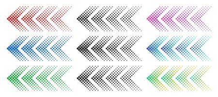 Halftone arrows. Color web arrow with dots. Colorful dotted moving forward and download symbols.