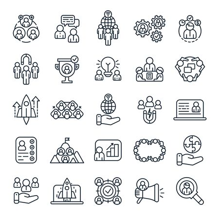 Business people outline icons. Office team brainstorm, business presentation and work partners. Teamwork line icon, startup logotype or leadership profile avatar. Isolated vector symbols set