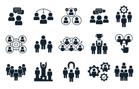 Corporate people icon. Group of persons, office teamwork pictogram and business team silhouette.