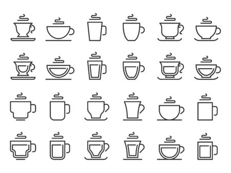 Hot drink cup outline icon. Coffee cups line pictogram, cocoa and tea mug. Take away cafe beverages logotype, breakfast coffee or hot tea caffeine drinks shop logo. Vector isolated icon set