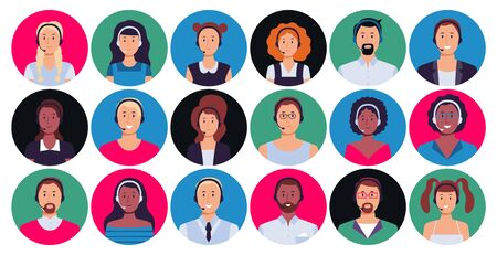 Call center operator. Customer support worker portrait, round avatar hotline contact and supporting person. Calls team operators, telemarketing or consultant worker avatar. Isolated vector icons set